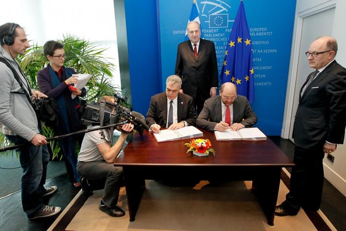 Martin SCHULZ - EP President, Dimitris KOURKOULAS Deputy Minister of Foreing Affairs, Evzen TOSENOVSKY